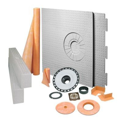 Kerdi-Shower 32 in. x 60 in. Off-Center Shower Kit in ABS with Oil-Rubbed Bronze Stainless Steel Drain Grate