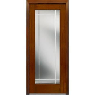 36 in. x 80 in. Classic Clear Glass PIM Full Lite Finished Mahogany Fiberglass Prehung Front Door