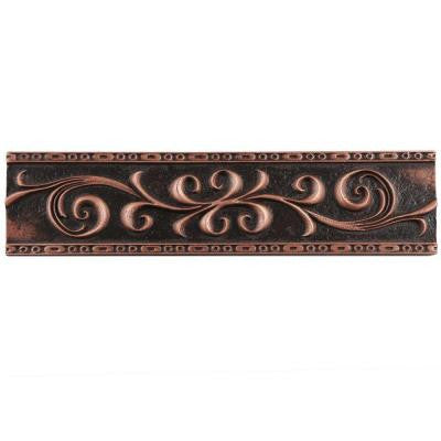 Contempo Scroll Liner Venetian Bronze 3 in. x 12 in. Metallic Wall Trim Tile