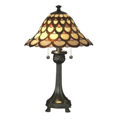 Peacock 24.5 in. Antique Bronze Fieldstone Table Lamp