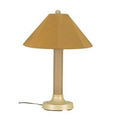 Bahama Weave 34 in. Mojavi Outdoor Table Lamp with Brass Shade