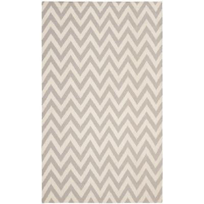 Dhurries Grey/Ivory 10 ft. x 14 ft. Area Rug