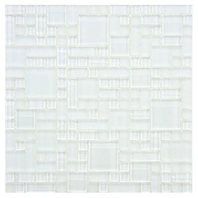 Tessera Versailles Ice White 11-3/4 in. x 11-3/4 in. x 8 mm Glass and Stone Mosaic Wall Tile