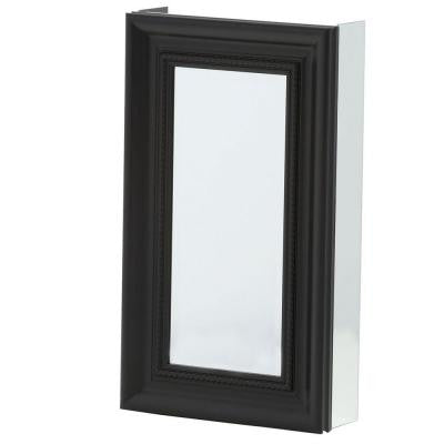 15 in. x 26 in. Recessed or Surface Mount Mirrored Medicine Cabinet with Framed Door in Espresso