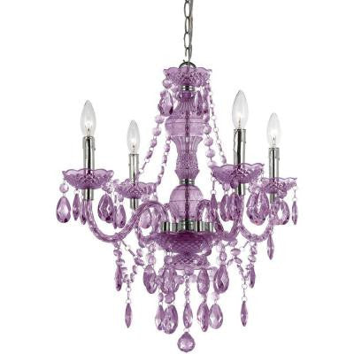 Naples 4-Light Chrome Mini Chandelier with Light Purple Plastic Bead Accents
