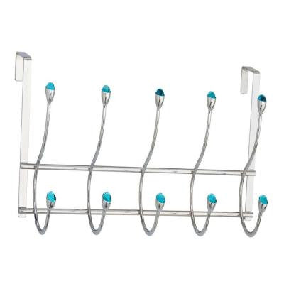OTD - 5 Over The Door Hooks in Chrome with Blue Jewel