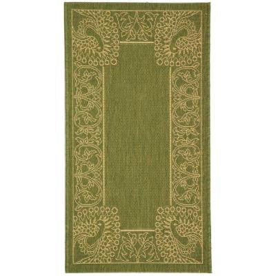Courtyard Olive/Natural 2 ft. 7 in. x 5 ft. Indoor/Outdoor Area Rug