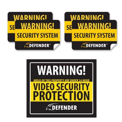 Indoor Video Security System Warning Sign with 4 Window Warning Stickers