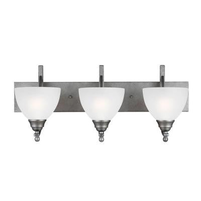 Vitelli 3-Light Weathered Pewter Wall/Bath Fixture with Satin Etched Glass