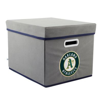 MLB STACKITS Oakland Athletics 12 in. x 10 in. x 15 in. Stackable Grey Fabric Storage Cube
