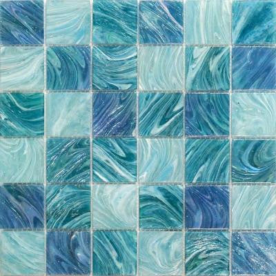 Aqua Blue Sky Mesh-Mounted Squares 11-3/4 in. x 11-3/4 in. x 5 mm Glass Mosaic Tile
