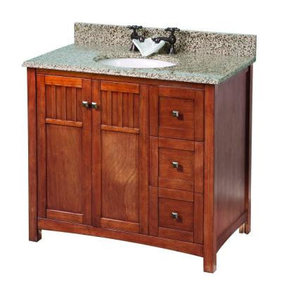 Knoxville 37 in. W x 22 in. D Vanity in Nutmeg with Granite Vanity Top in Montesol with White Basin