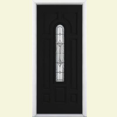 36 in. x 80 in. Providence Center Arch Painted Smooth Fiberglass Prehung Front Door with Brickmold