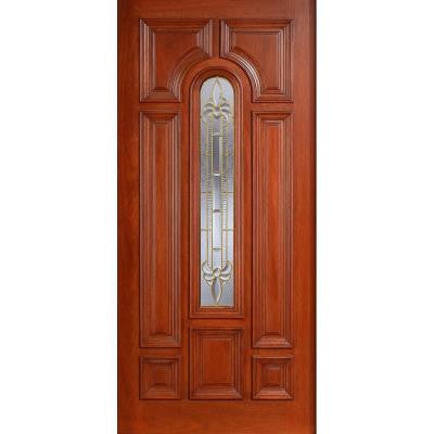 36 in. x 80 in. Mahogany Type Prefinished Cherry Beveled Brass Arch Glass Solid Wood Front Door Slab