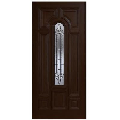 36 in. x 80 in. Mahogany Type Arch Glass Prefinished Espresso Beveled Patina Solid Wood Front Door Slab