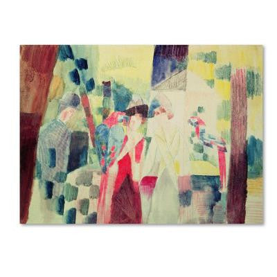 18 in. x 24 in. Two Women and a Man with Parrots Canvas Art