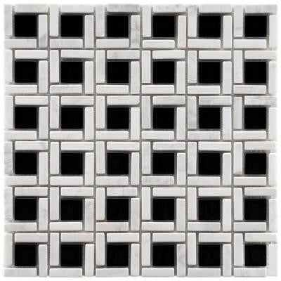 Tessera Cubic Classic 11-3/4 in. x 11-3/4 in. x 8 mm Glass and Stone Mosaic Wall Tile
