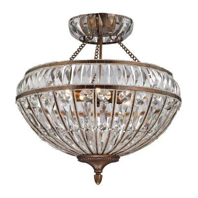 Windermere Collection 6-Light Mocha Semi-Flush Mount Light