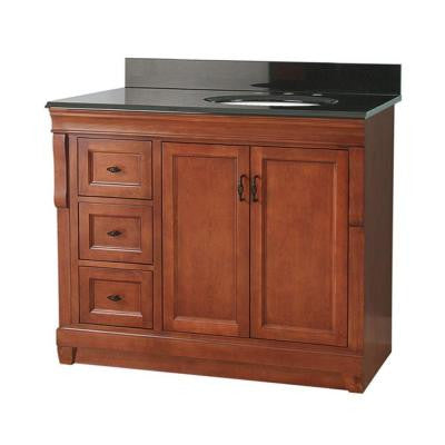 Naples 37 in. W x 22 in. D Vanity in Warm Cinnamon with Granite Vanity Top in Black with Right Offset Basin