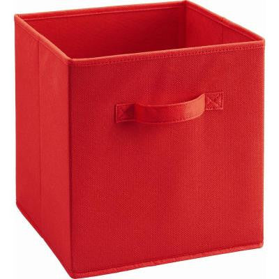 10.5 in. x 11 in. x 10.5 in. 5.25 gal. Red Fabric Storage Bin