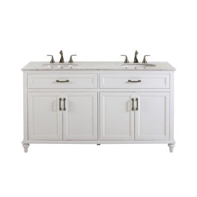 Charleston 61 in. W x 39 in. H Bath Vanity in White with Marble Vanity Top in White