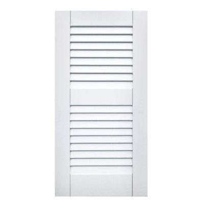 Wood Composite 15 in. x 30 in. Louvered Shutters Pair #631 White