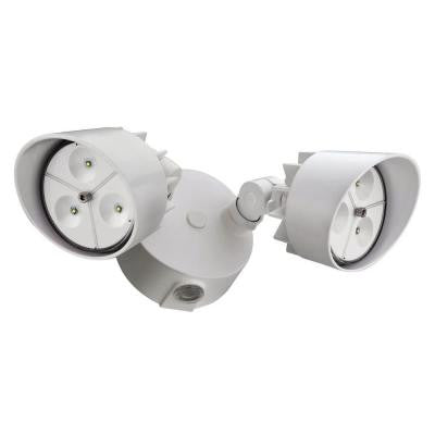 Wall-Mount 2-Head Outdoor White LED Floodlight