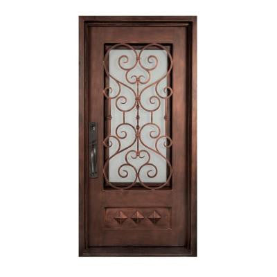 46 in. x 97.5 in. Vita Francese Classic 3/4 Lite Painted Oil Rubbed Bronze Wrought Iron Prehung Front Door