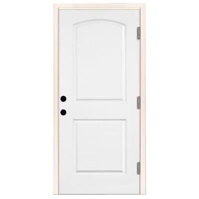 36 in. x 80 in. Premium 2-Panel Arch Primed White Steel Prehung Front Door with 36 in. Left-Hand Outswing and 4 in. Wall