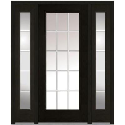 60 in. x 80 in. Classic Clear Glass GBG Full Lite Finished Oak Fiberglass Prehung Front Door with Sidelites