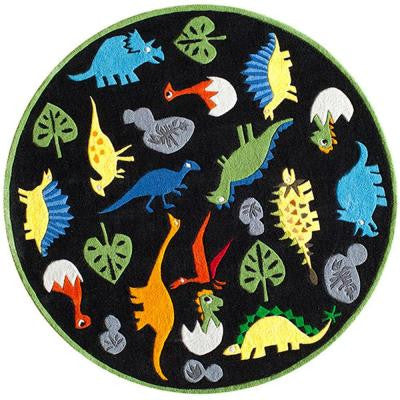 Caprice Dinosaurs Black 5 ft. x 5 ft. Indoor Round Area Rug