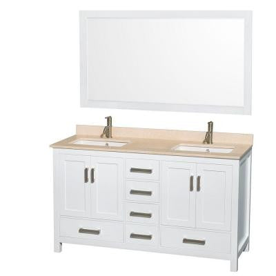 Sheffield 60 in. Double Vanity in White with Marble Vanity Top in Ivory and 58 in. Mirror