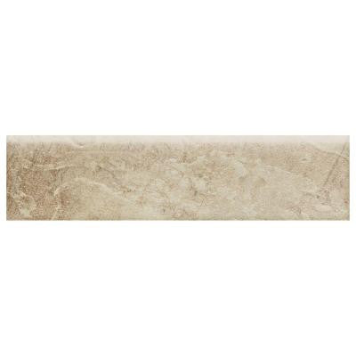 Continental Slate Egyptian Beige 3 in. x 12 in. Porcelain Bullnose Floor and Wall Tile