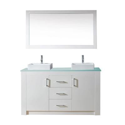 Tavian 60 in. Double Vanity in White with Glass Vanity Top in Aqua and Mirror