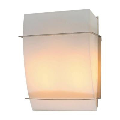 2-Light Satin Nickel Sconce with Matte Opal Glass