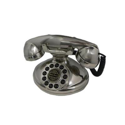 Analog Corded 1921 Christie Telephone with Faux Rotary Dial - Silver