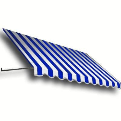14 ft. Dallas Retro Window/Entry Awning (24 in. H x 42 in. D) in Bright Blue/White Stripe