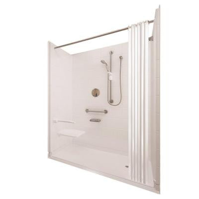 Elite Satin 37 in. x 60 in. x 77-1/2 in. 5-piece Barrier Free Roll In Shower System in White with Right Drain
