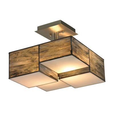 Cubist 13 in. 2-Light Brushed Nickel Semi Flush Mount