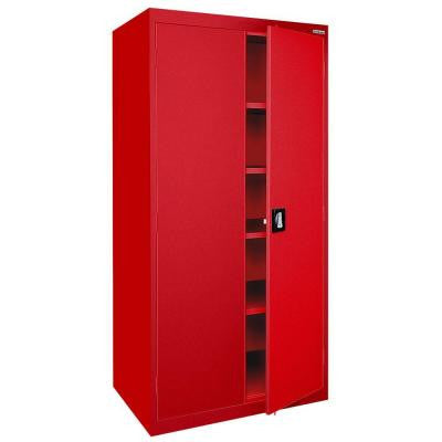 Elite Series 78 in. H x 36 in. W x 24 in. D 5-Shelf Steel Recessed Handle Storage Cabinet in Red