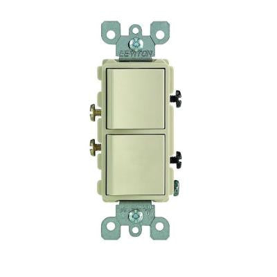 15-Amp Single Pole Decora Dual Switch - Ivory