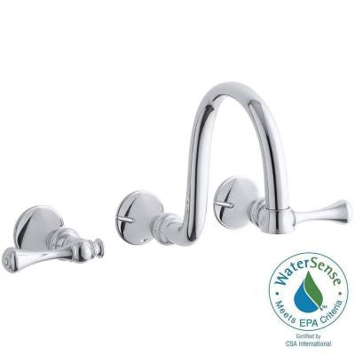 Revival Wall-Mount 2-Handle Bathroom Faucet Trim Kit in Polished Chrome (Valve Not Included)