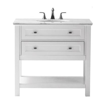 Austell 37 in. Vanity in White with Marble Vanity Top in White