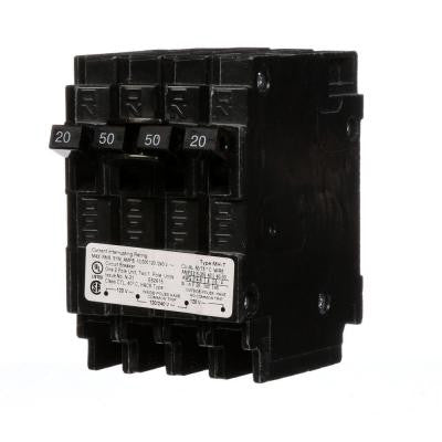 Triplex Two Outer 20 Amp Single-Pole and One Inner 50 Amp Double-Pole-Circuit Breaker