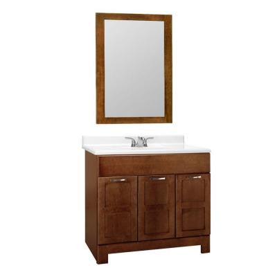 Casual 36 in. W x 21 in. D Vanity Cabinet with Mirror in Cognac