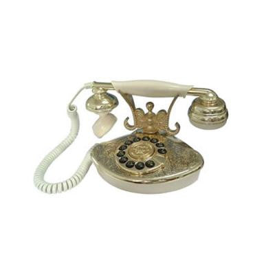 Corded 1946 Petite Cutie Phone System with Faux Rotary Dial - Ivory and Gold