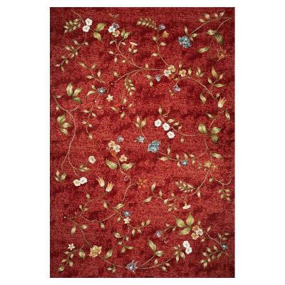 Dainty Flower Red 8 ft. 1 in. x 11 ft. 2 in. Area Rug