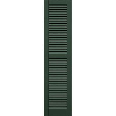 Wood Composite 15 in. x 63 in. Louvered Shutters Pair #656 Rookwood Dark Green