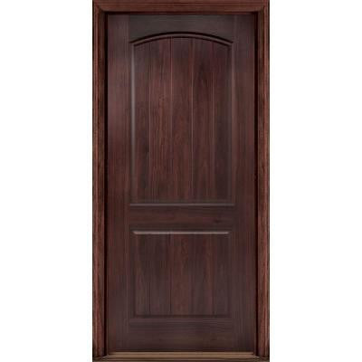 36 in. x 80 in. AvantGuard Sierra 2-Panel Finished Smooth Fiberglass Prehung Front Door with No Brickmold