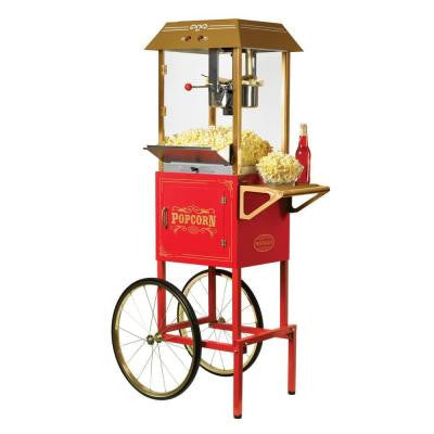 59 in. Old Fashioned Movie Time Popcorn Cart in Red
